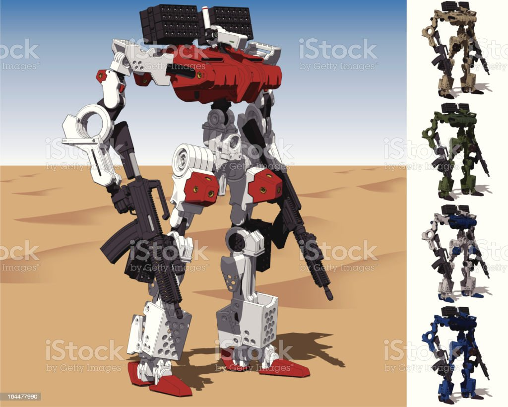 Armored Loader for army(with missile-pod)[front right view] royalty-free stock vector art