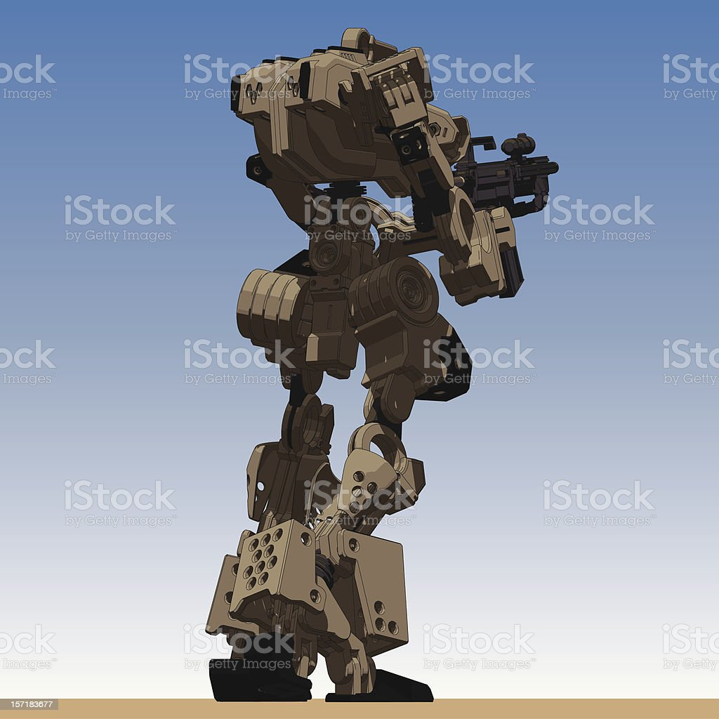 Armored Loader for army(holding assault-rifle)[rear right low view] royalty-free stock vector art