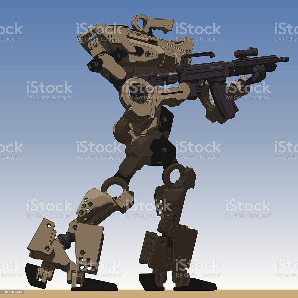 Armored Loader for army(holding assault-rifle)[right low view] vector art illustration
