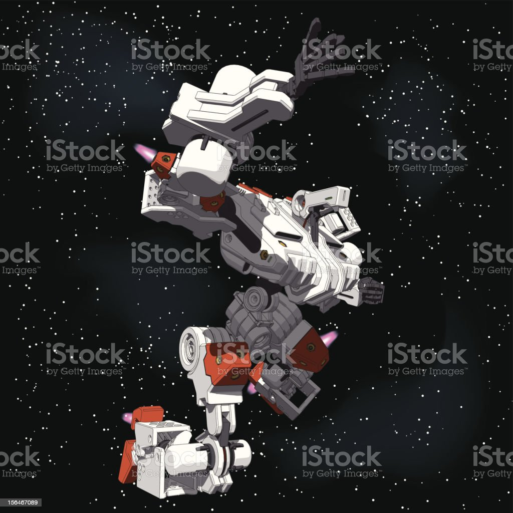 Armored Loader for space(with propellant tanks)[right view] royalty-free stock vector art