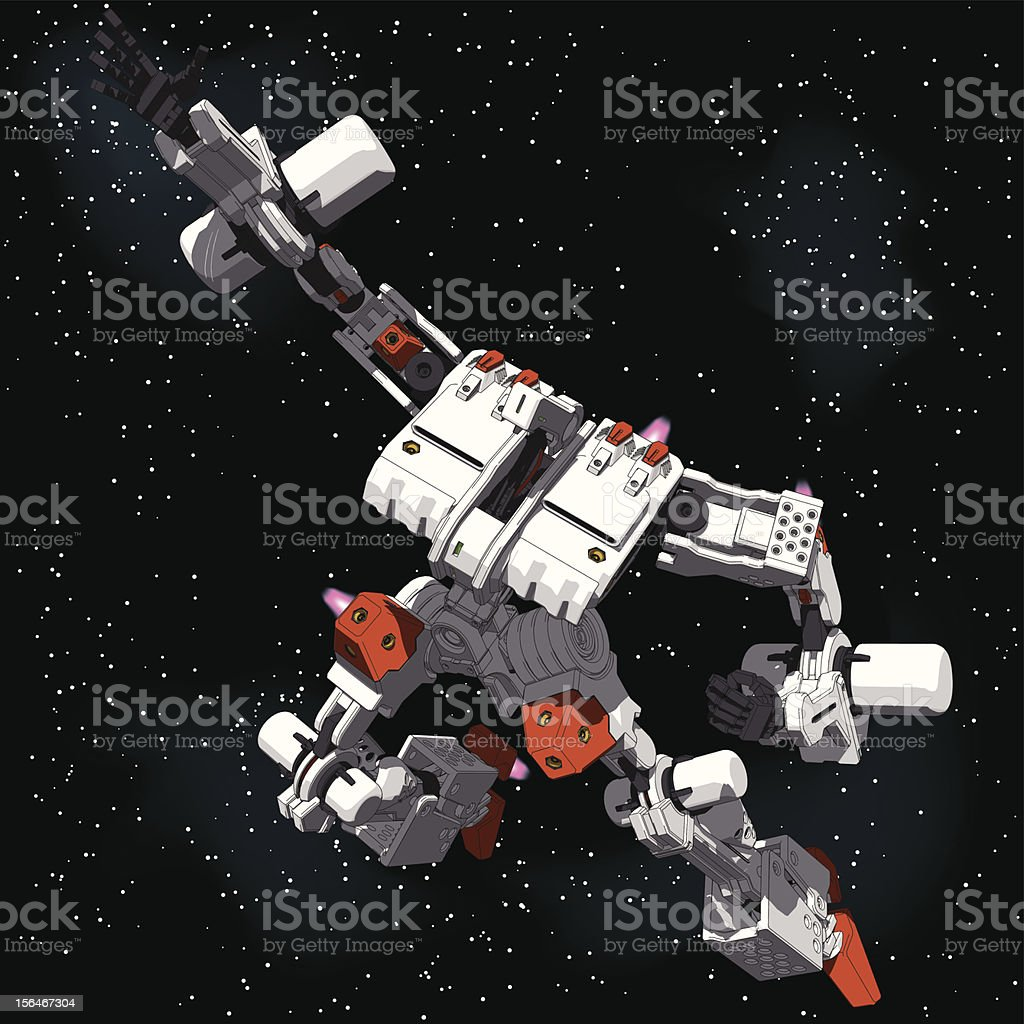 Armored Loader for space(with propellant tanks)[top view] vector art illustration