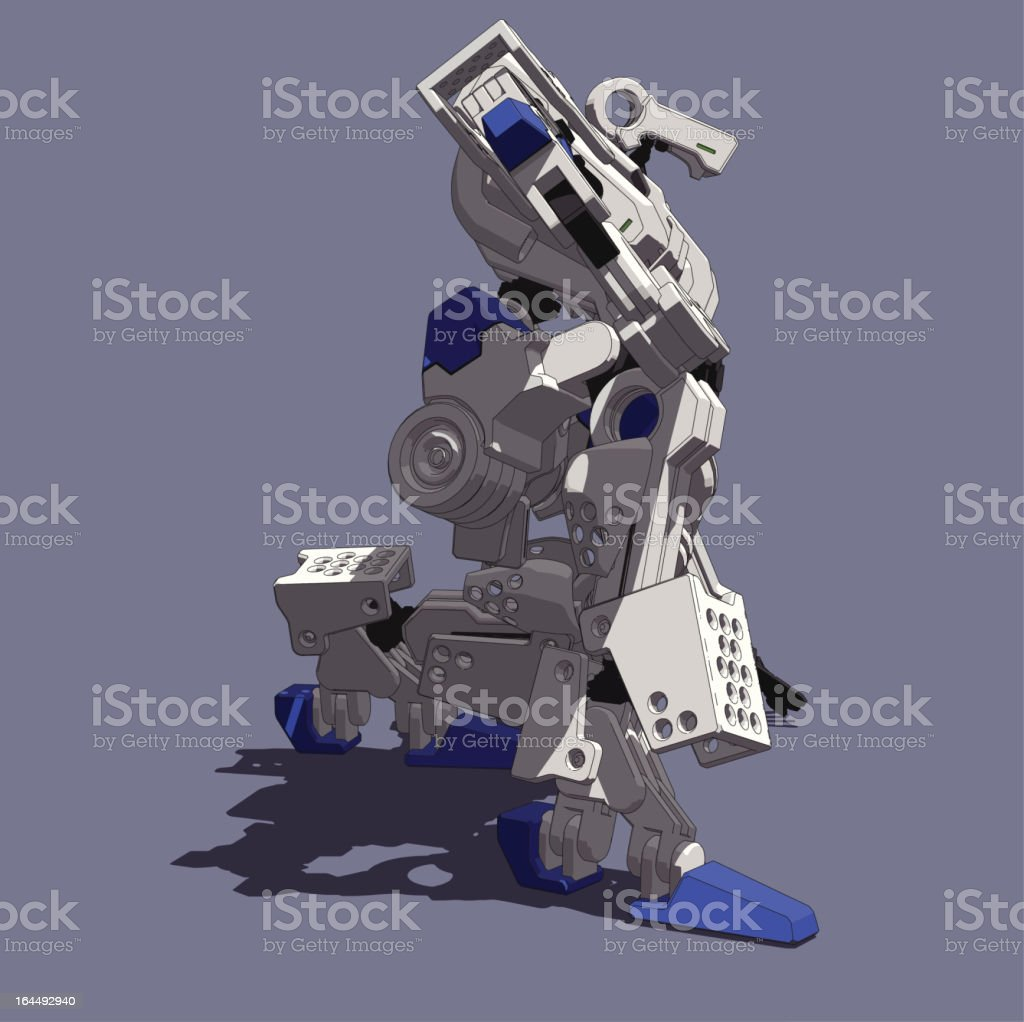 Armored Loader(squat down right view) vector art illustration