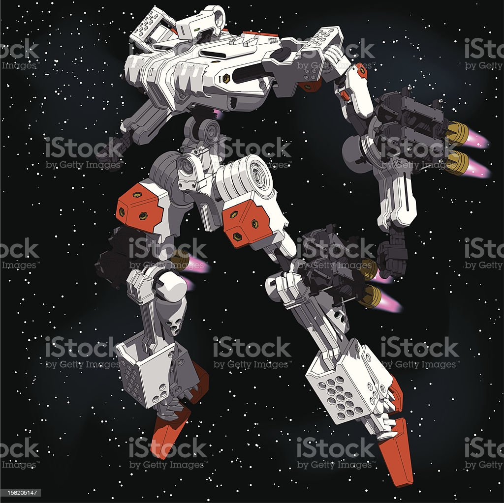 Armored-Loader for space(high-maneuver-package)[front left view] vector art illustration