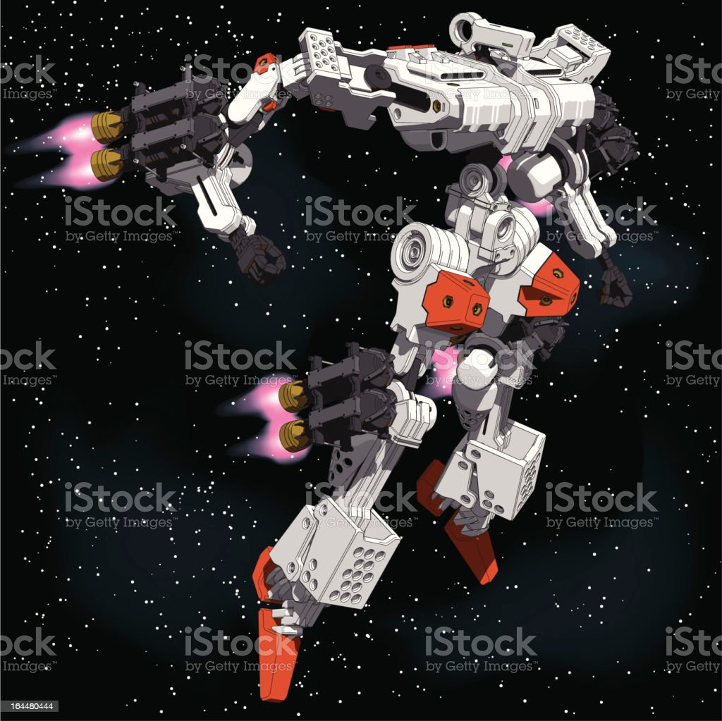 Armored-Loader for space(high-maneuver-package)[front right view] vector art illustration