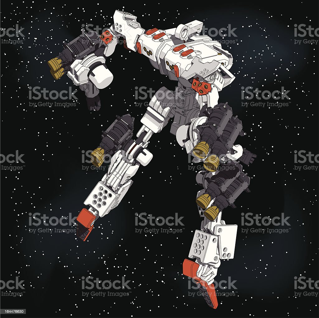 Armored-Loader for space(high-maneuver-package)[rear right overlook view] vector art illustration