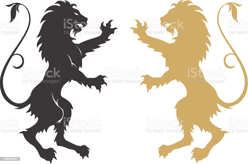 Armorial lions vector art illustration
