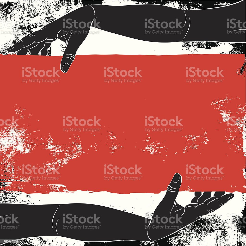 arms holding a red sign royalty-free stock vector art