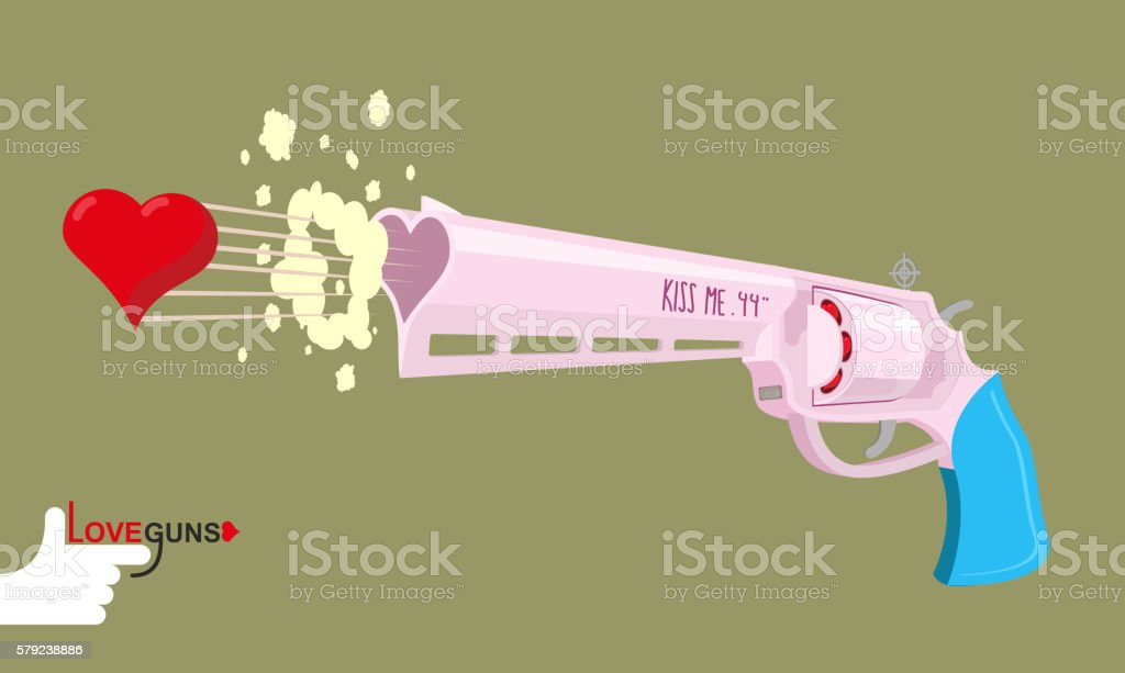 Arms of love. Magnum love. Colt Gun shoots hearts. vector art illustration