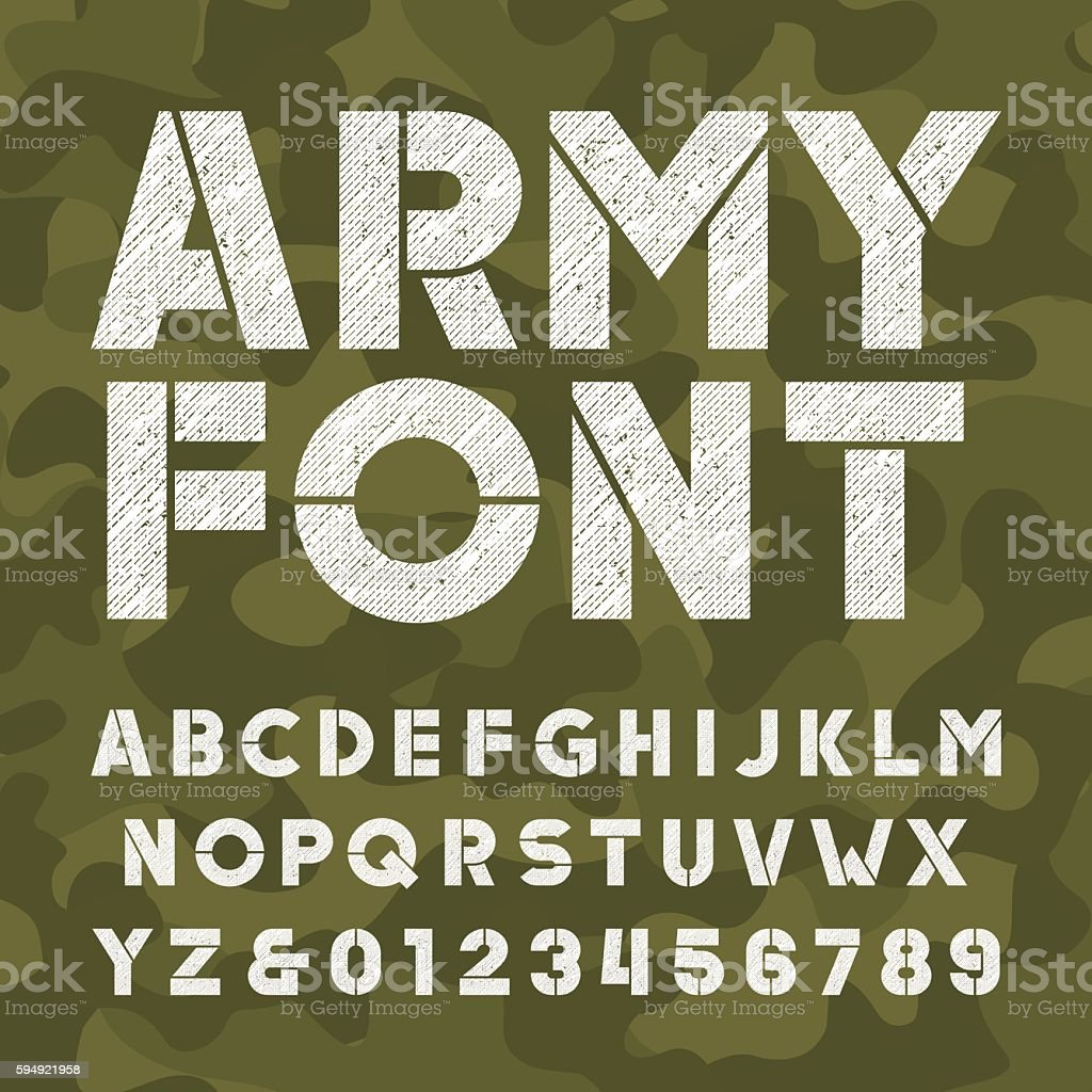Army alphabet font. Scratched bold type letters vector art illustration