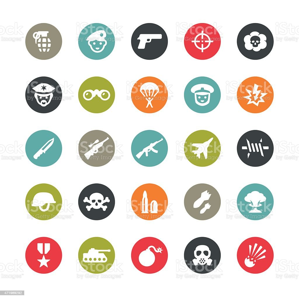 Army and Military vector icons / Ringico series vector art illustration