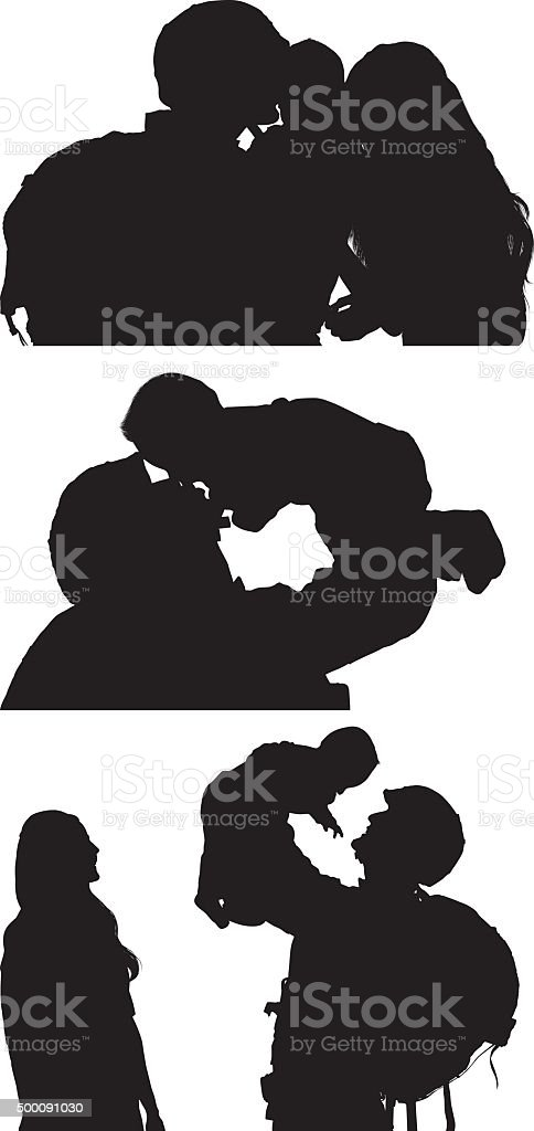Army couple bonding with their baby vector art illustration
