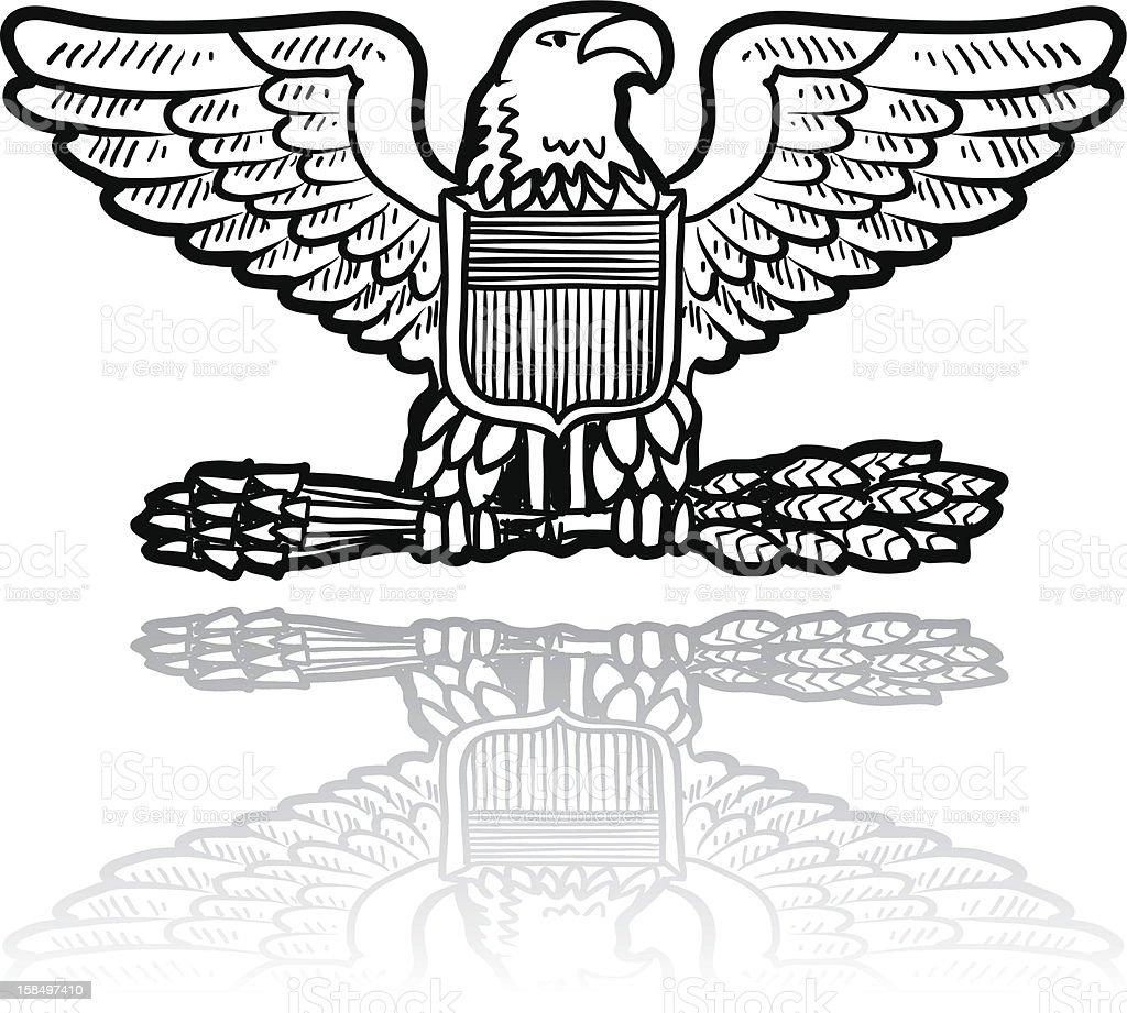 US Army eagle insignia sketch vector art illustration