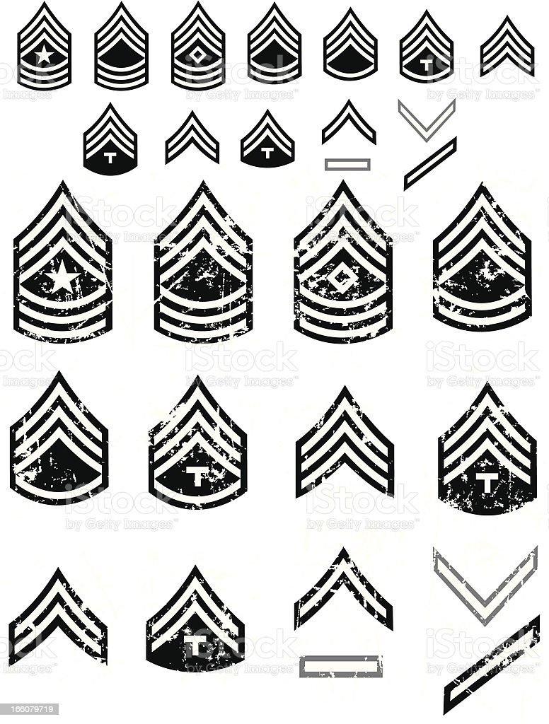 US Army Enlistment Symbols or Arm Patch Ranks royalty-free stock vector art
