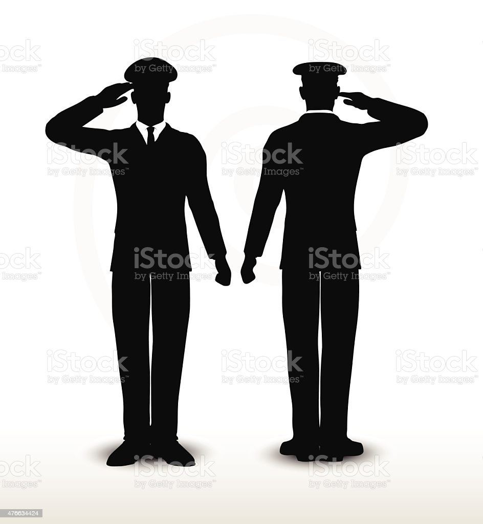 army general silhouette with hand gesture saluting vector art illustration