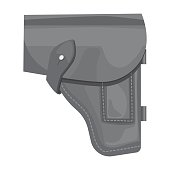 Army handgun holster icon in monochrome style isolated on white