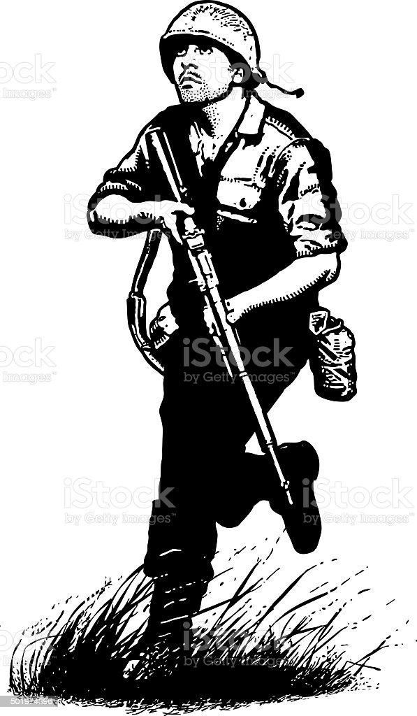 US Army Infantry Soldier in Combat. Isolated on White. vector art illustration