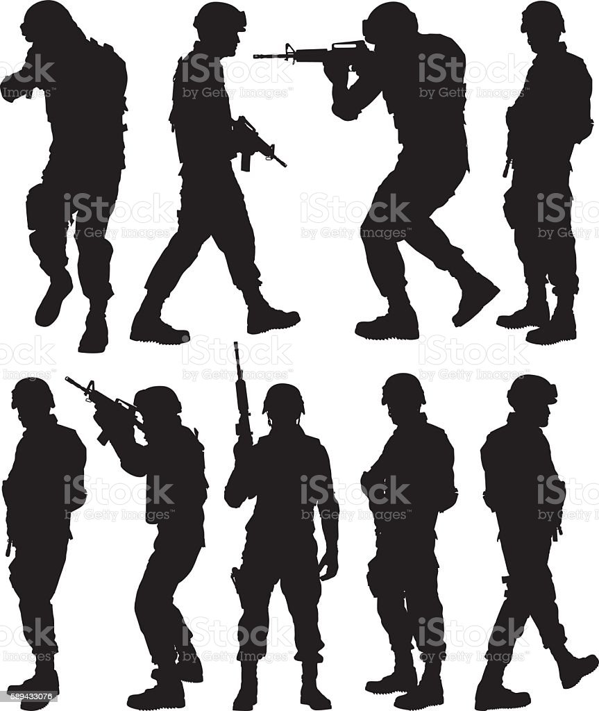 Army man in various actions vector art illustration