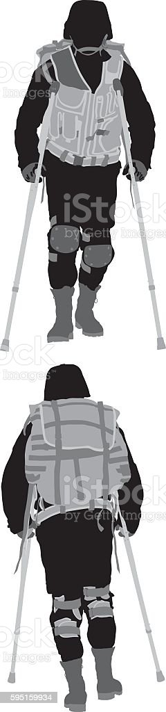 Army man walking with crouches vector art illustration