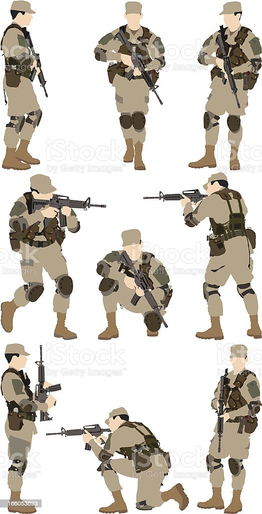 Army man with a rifle royalty-free stock vector art