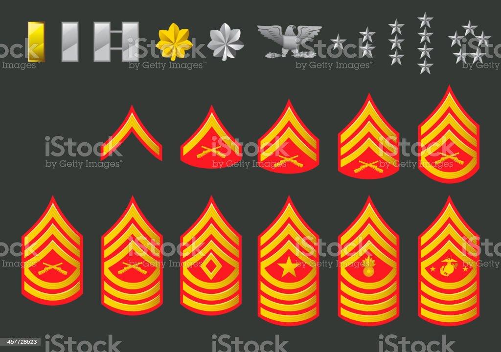 US Army Marine Ranks vector art illustration
