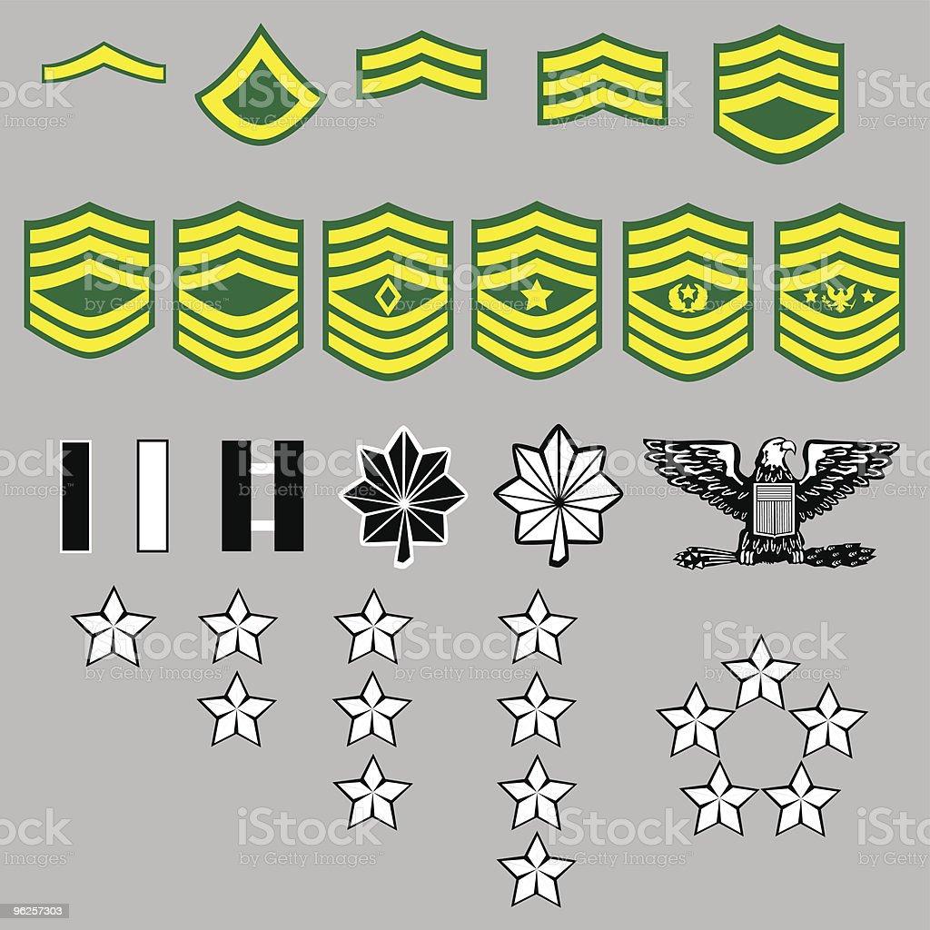 US Army Rank Insignia royalty-free stock vector art