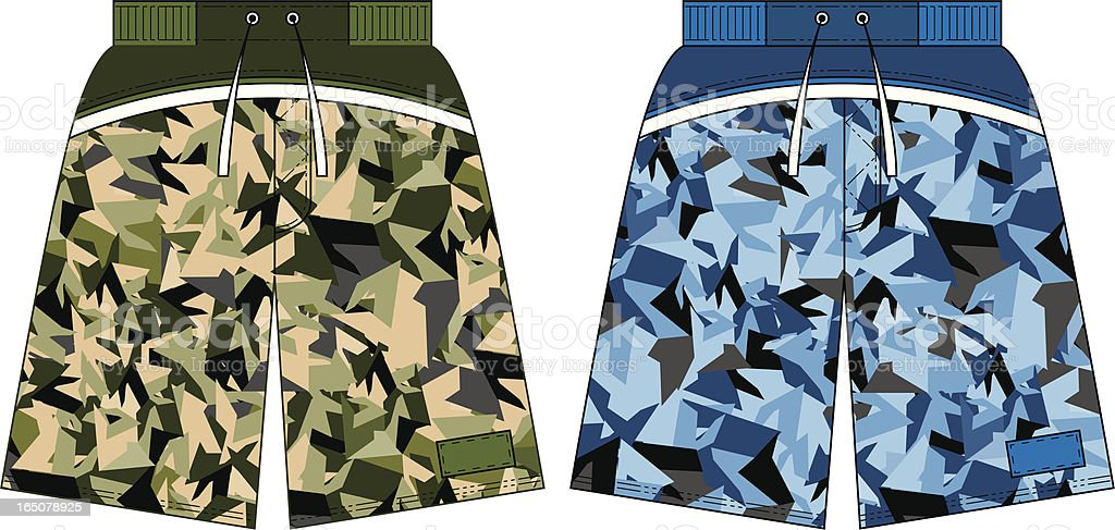 Army Style Camoflague Board Shorts royalty-free stock vector art