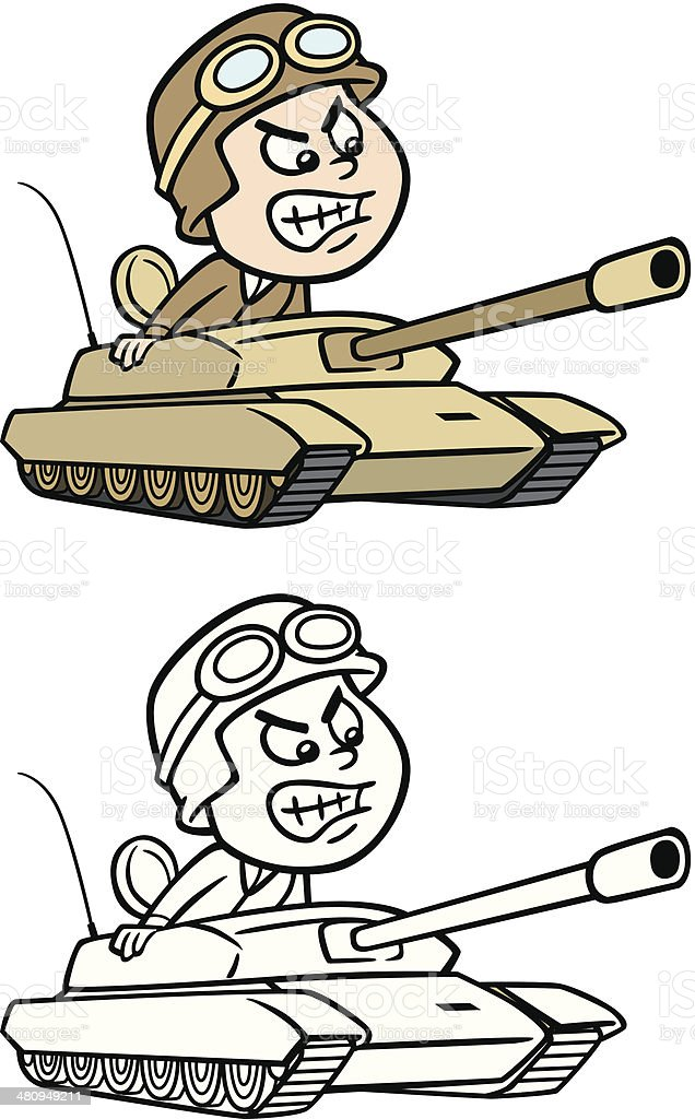 Army Tank Driver vector art illustration