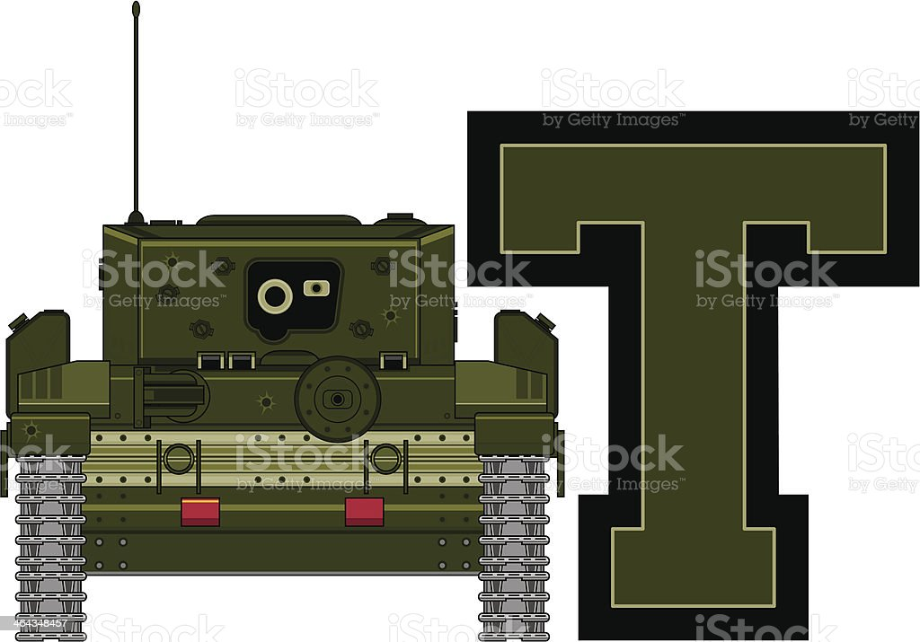 Army Tank Learning Letter T royalty-free stock vector art