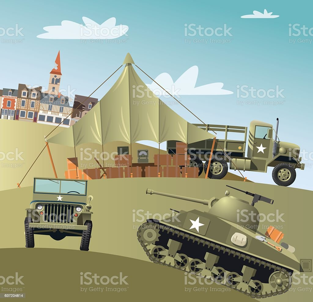 US Army troops in Second World War vector art illustration