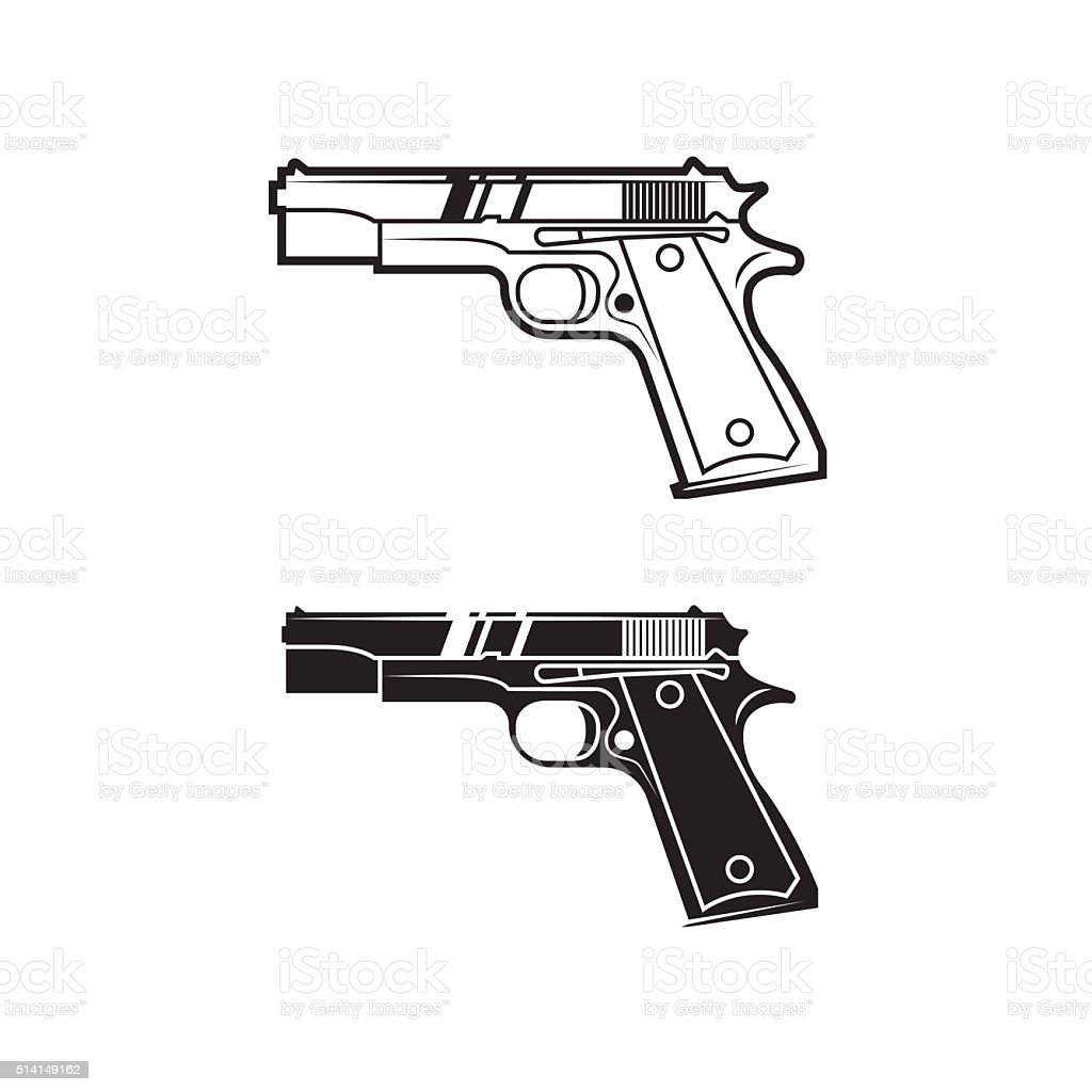 Army weapon. Line style. vector art illustration