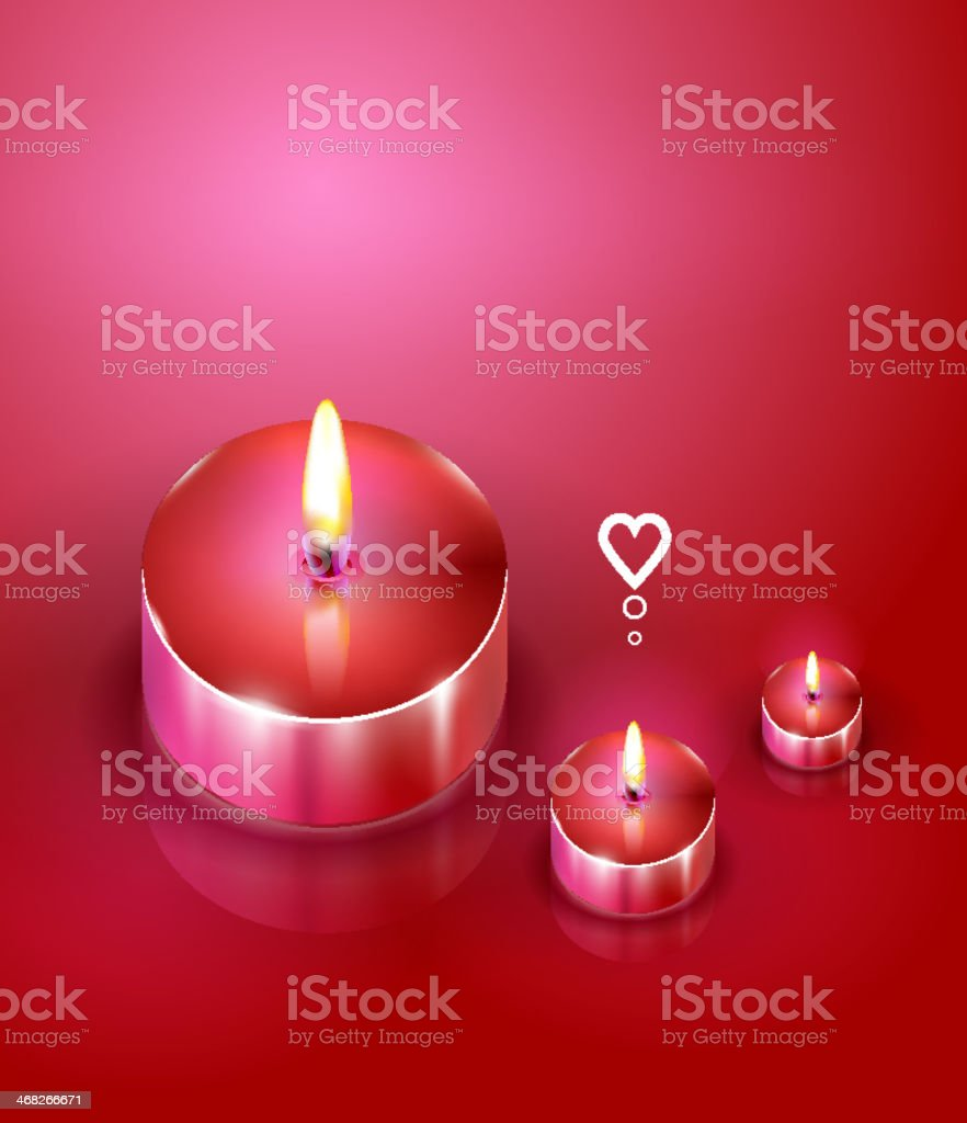 Aroma candles. Romantic background vector art illustration