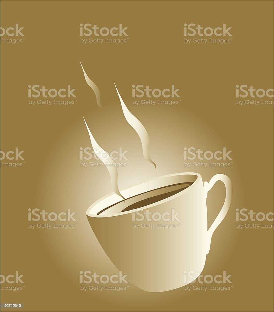 Aromatic coffee in a four handled cup royalty-free stock vector art