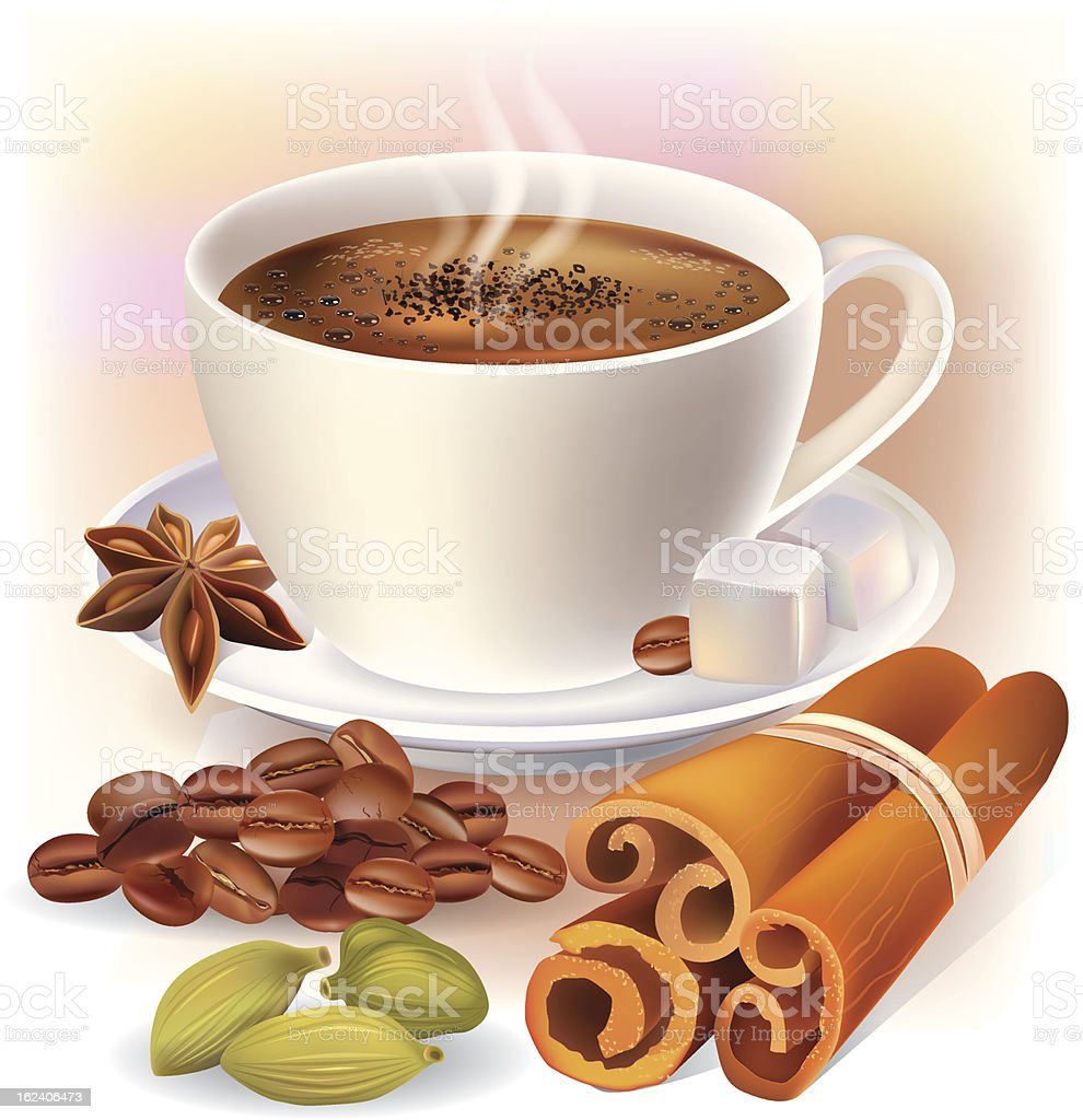 Aromatic coffee with spices royalty-free stock vector art