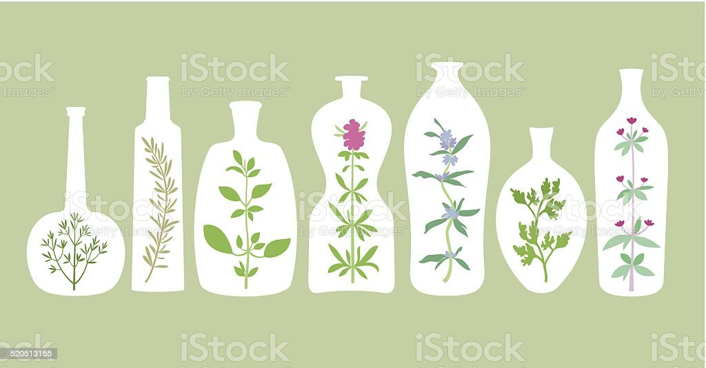 Aromatic Plants And Bottles Silhouettes vector art illustration