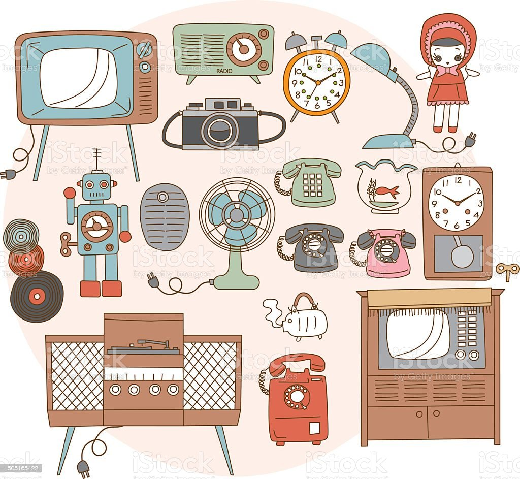 1950-1970 around the old household goods. Japanese style vector art illustration