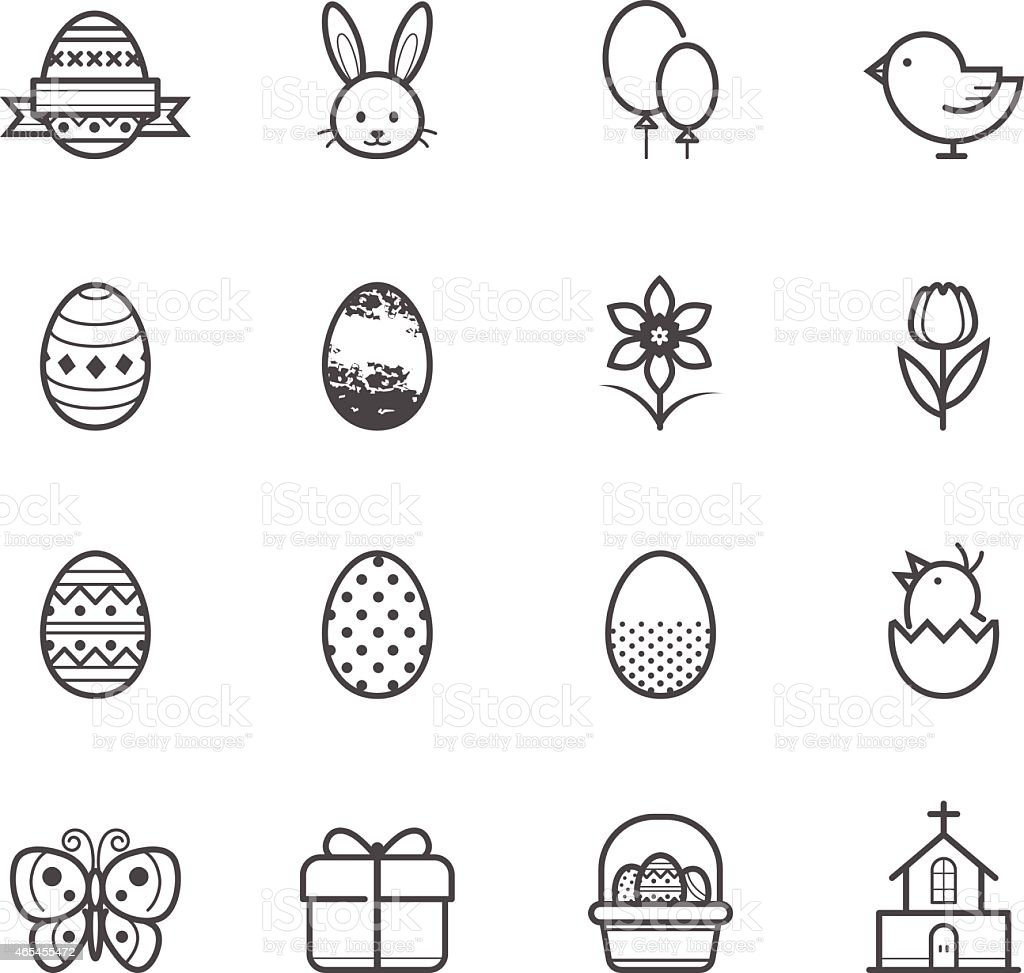 Arrangement of black-and-white Easter related icons vector art illustration