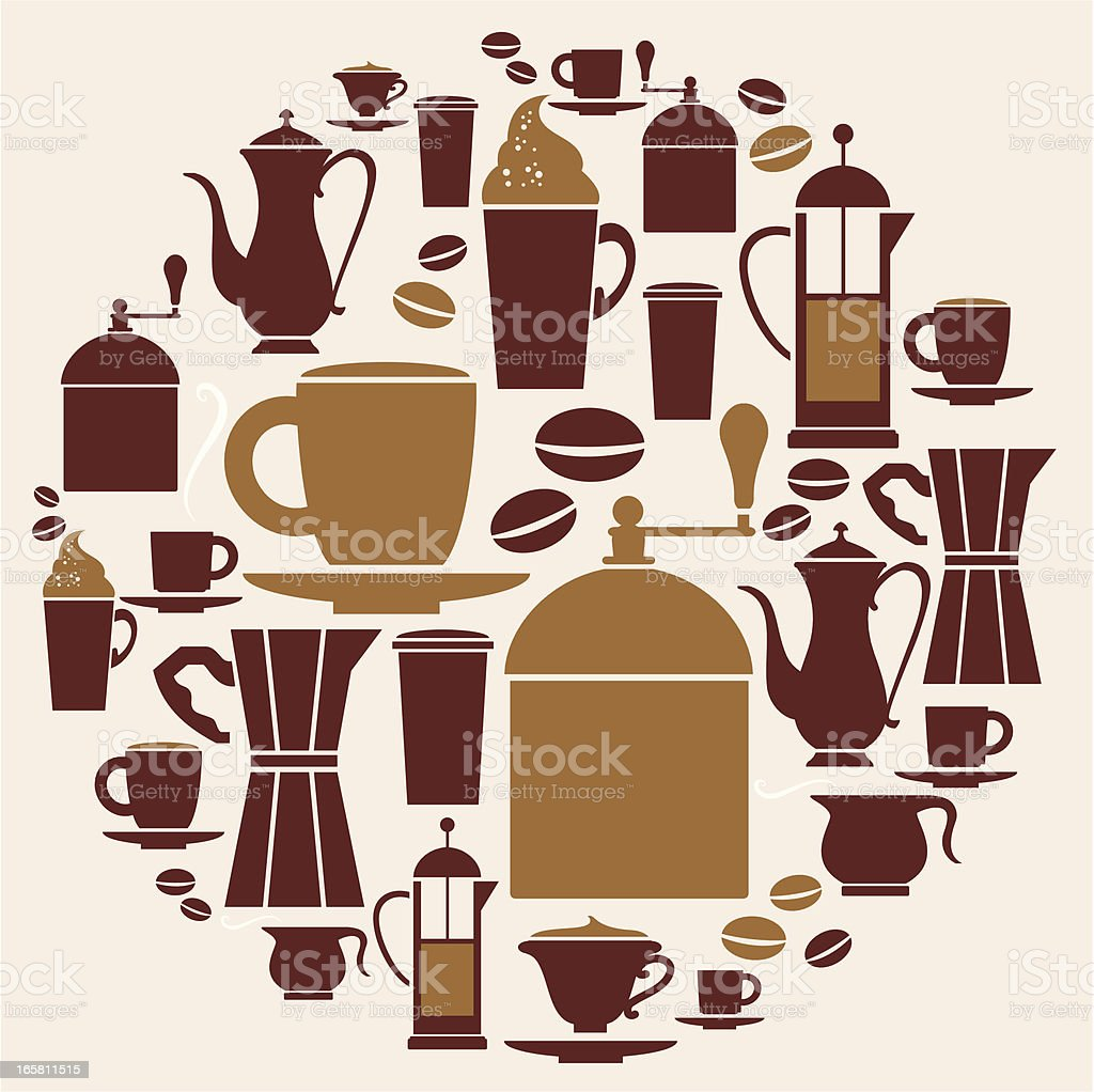 Arrangement of brown coffee icons royalty-free stock vector art