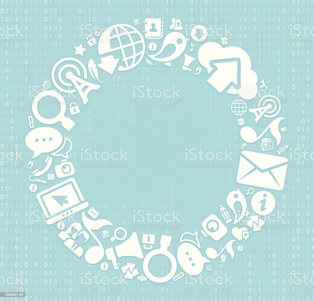 Arrangement of communication icons in a wreath pattern royalty-free stock vector art