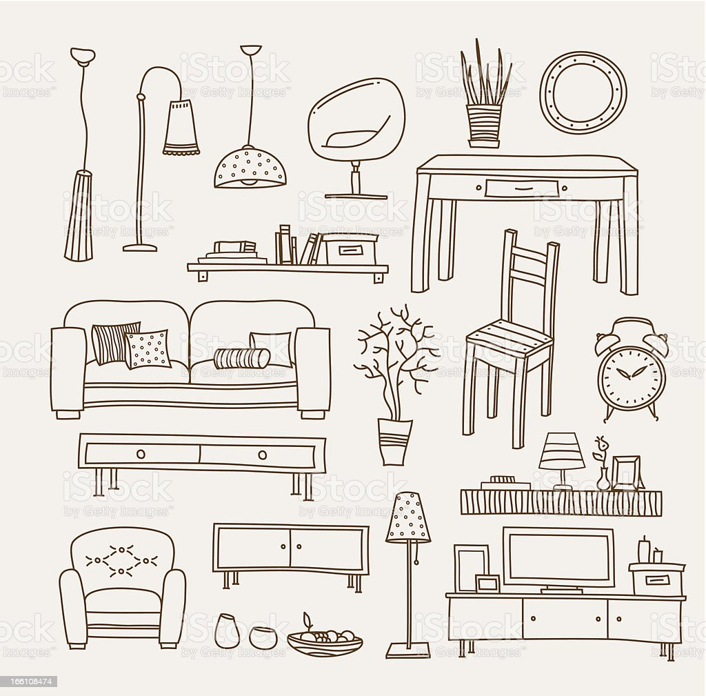 Arrangement of living room furniture vector art vector art illustration