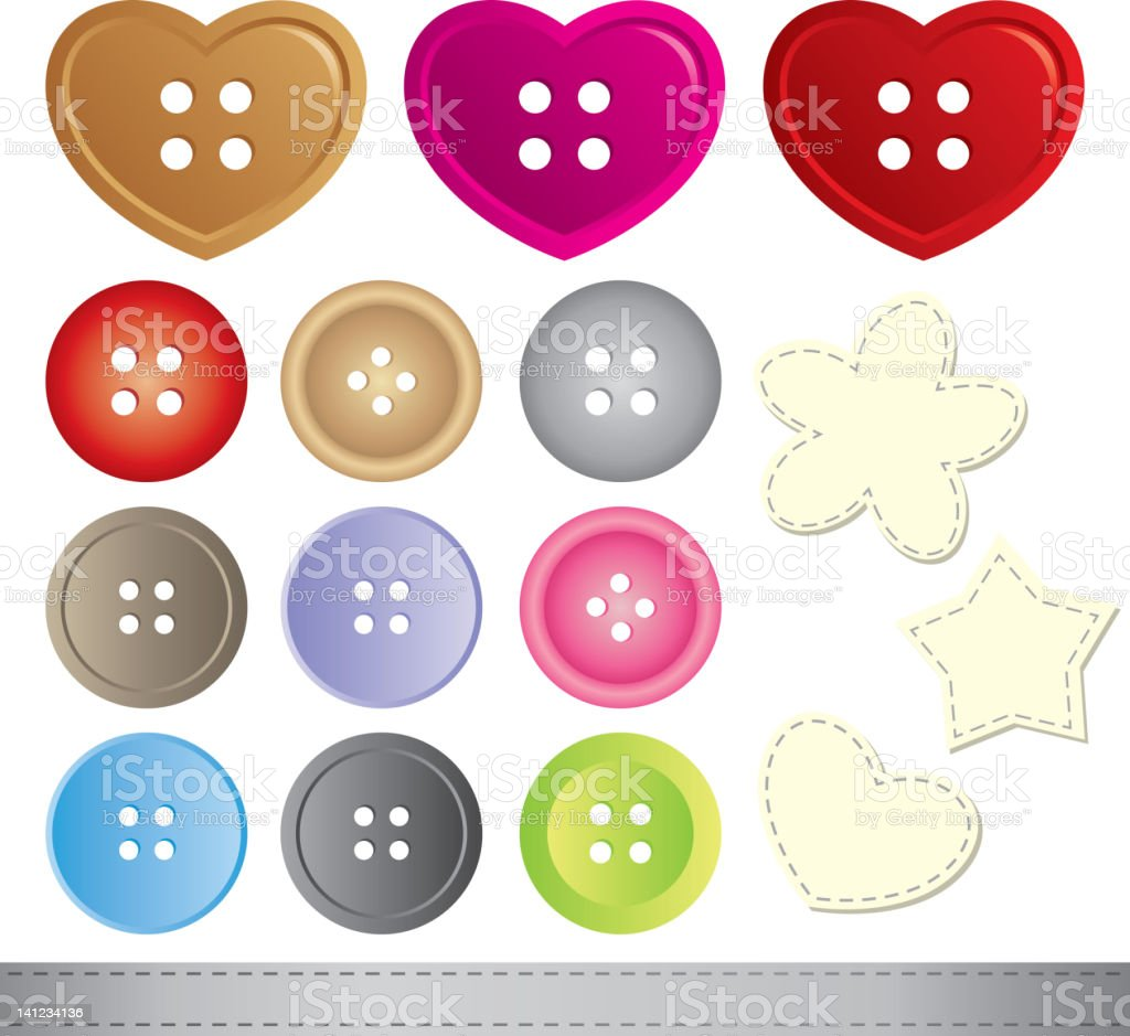 Arrangement of shaped four hole buttons and stitched items royalty-free stock vector art