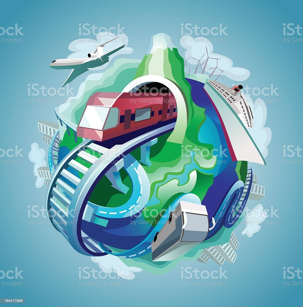 Arrangement of travel related graphics arranged in a sphere royalty-free stock vector art