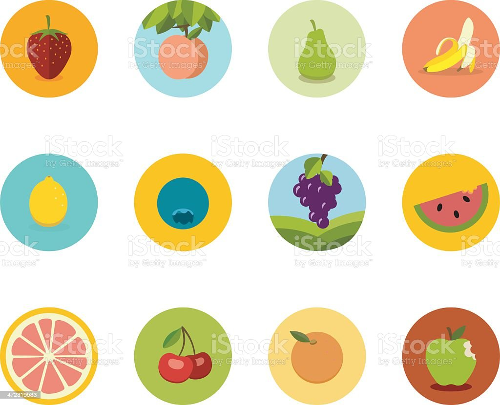 Array of flat fruit icons in circles on a white background vector art illustration
