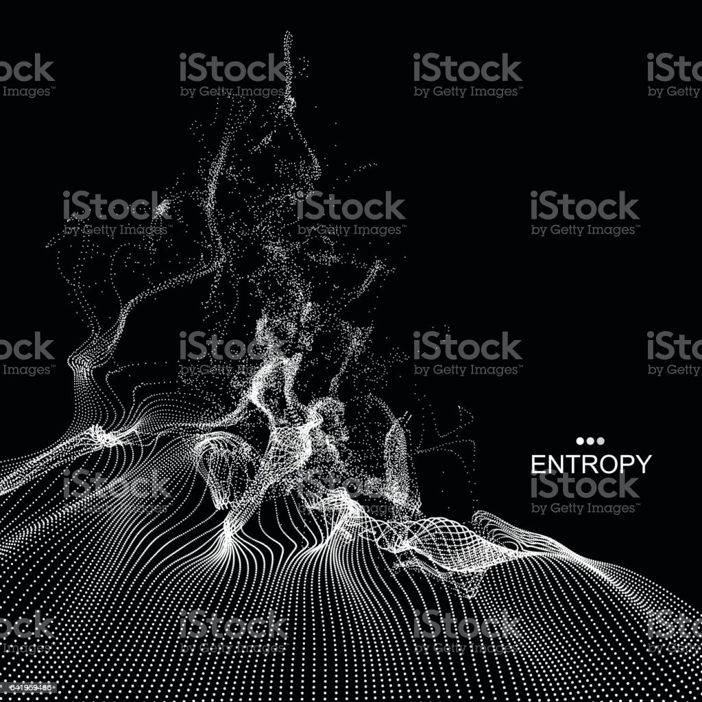Array with Dynamic Emitted Particles. Water Splash Imitation. vector art illustration