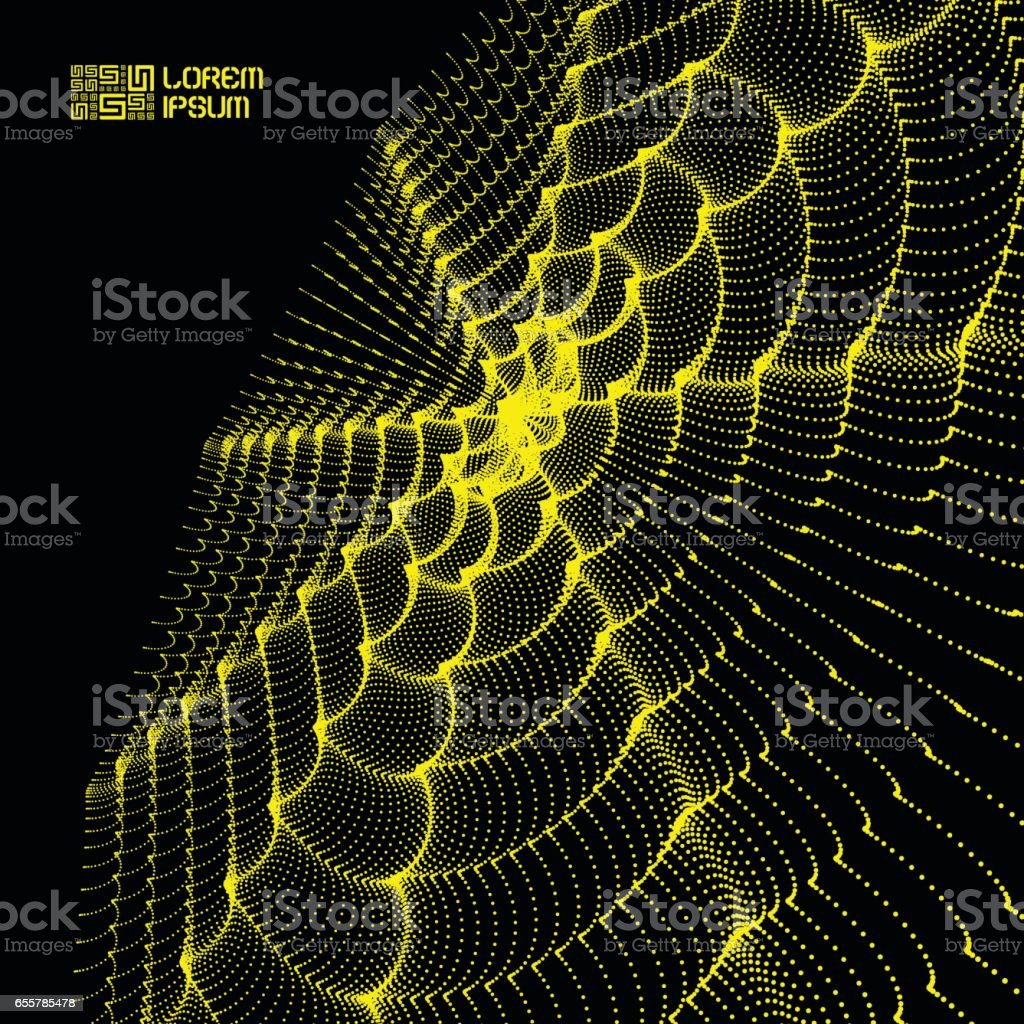 Array with Dynamic Particles. Flowing particle waves. Wavy Grid Background. vector art illustration