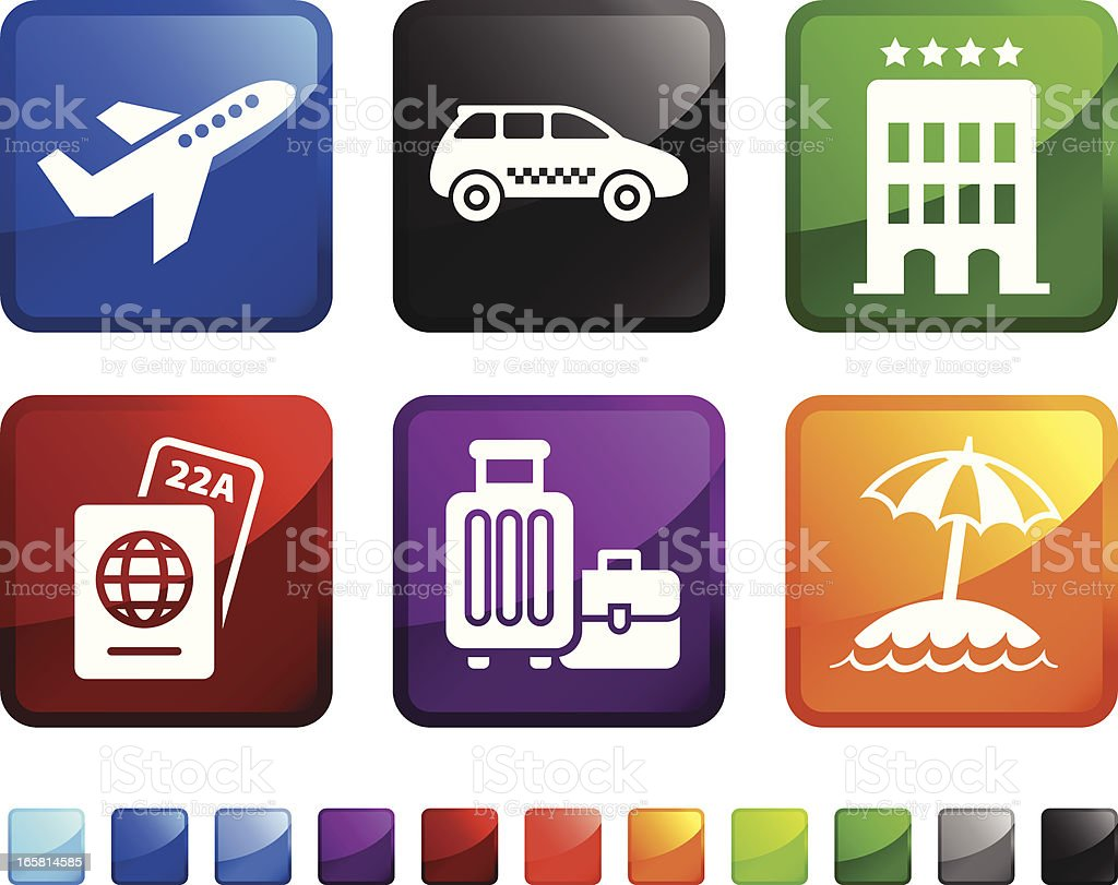 Arriving at Hotel for Vacation vector icon set stickers royalty-free stock vector art