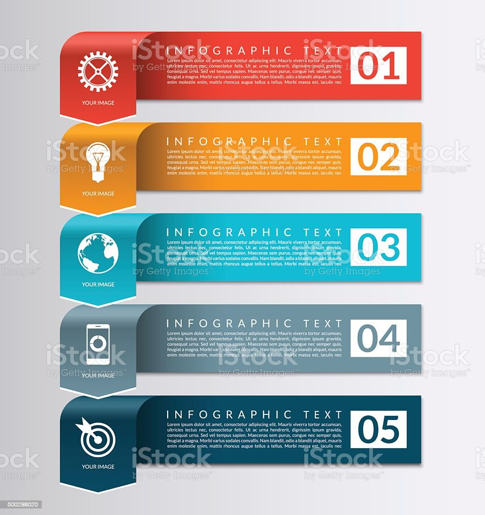 Arrow banner for business infographics. 5 steps design template vector art illustration