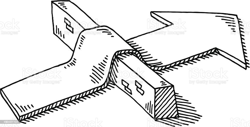 Arrow Barrier Overcoming Obstacle Drawing vector art illustration