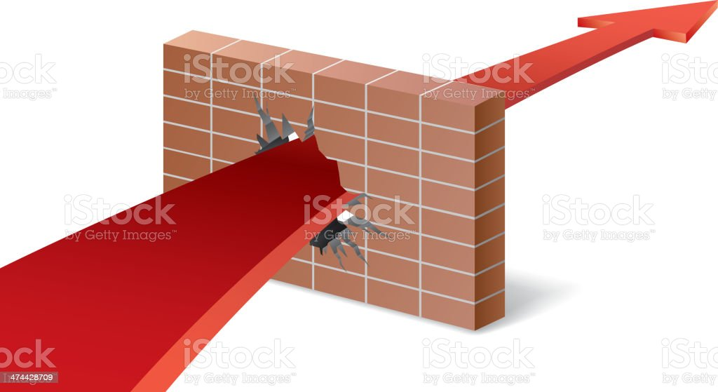 Arrow break through barrier vector art illustration