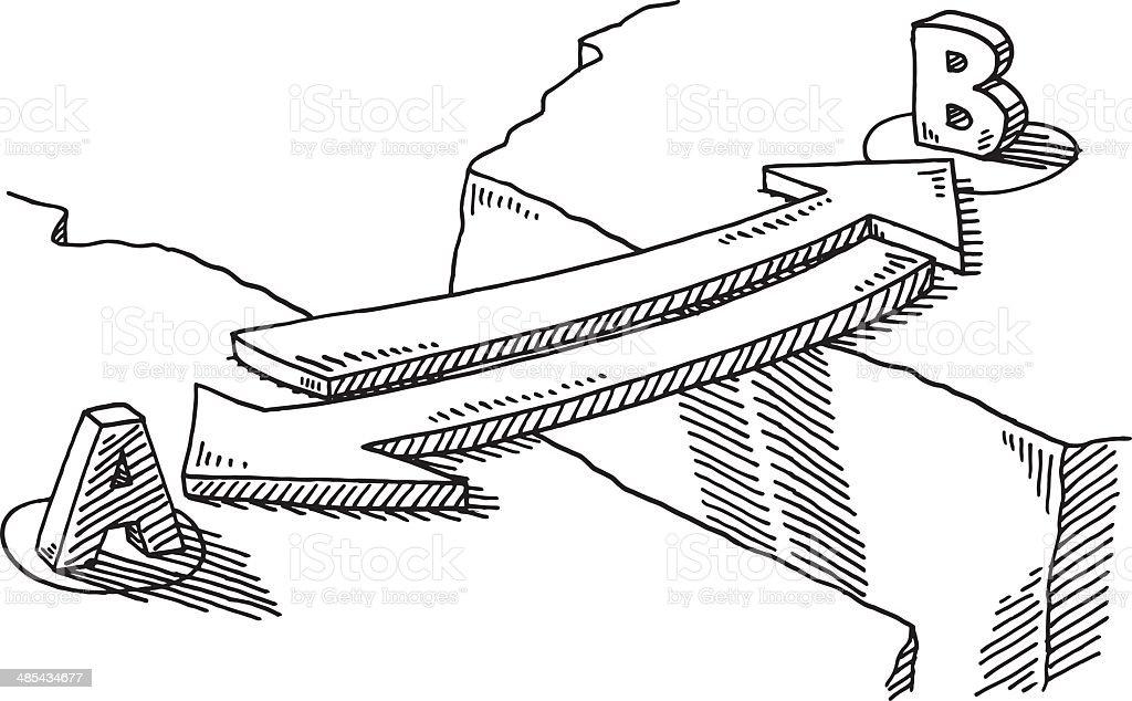 Arrow Bridge Connection Concept Drawing vector art illustration