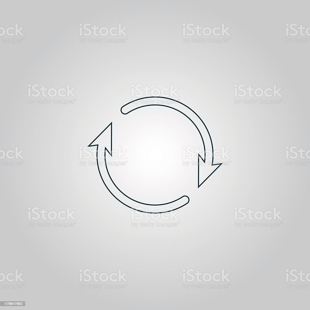 Arrow circle icon - cycle, loop, roundabout vector art illustration
